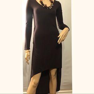 Brown Low High Long Sleeve Rayon Dress NWT